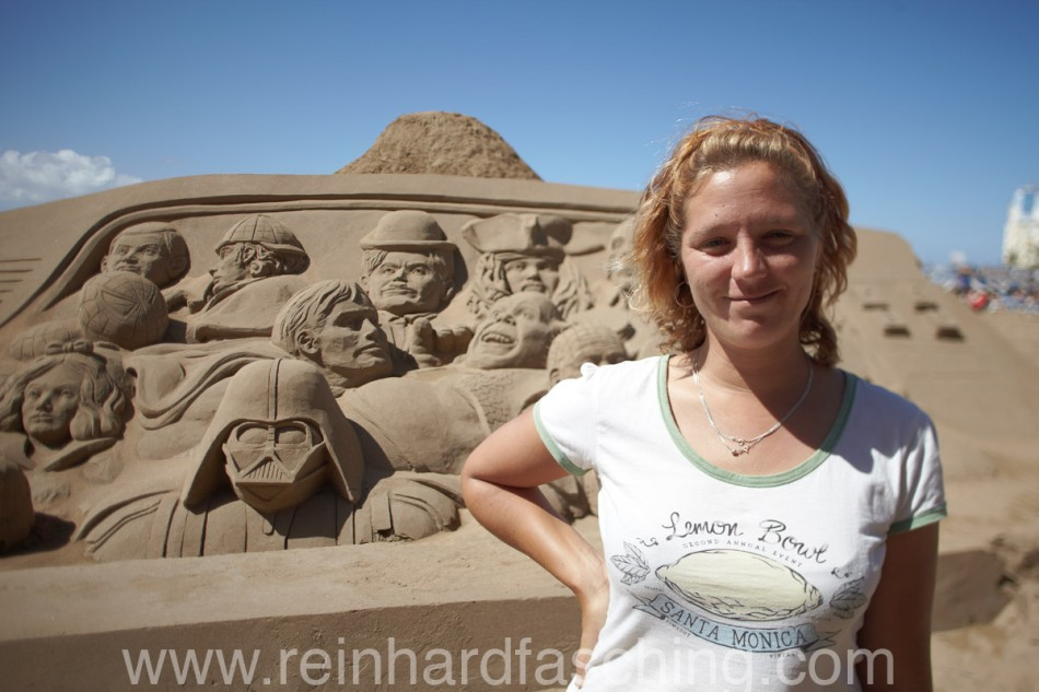 Wendi with sand sculpture