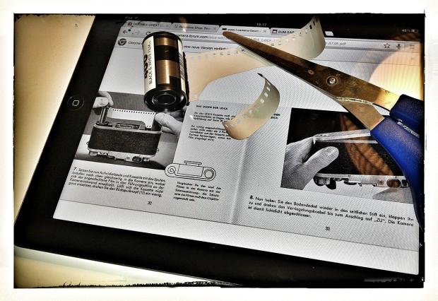 Verjüngung der Filmlasche laut PDF Anleitung (1955) auf iPad