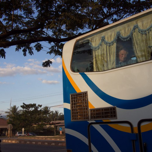 Loas by Bus, a touristic view filtered through the window of a travel bus, Photographic Project by Austrian photographer Reinhard Fasching