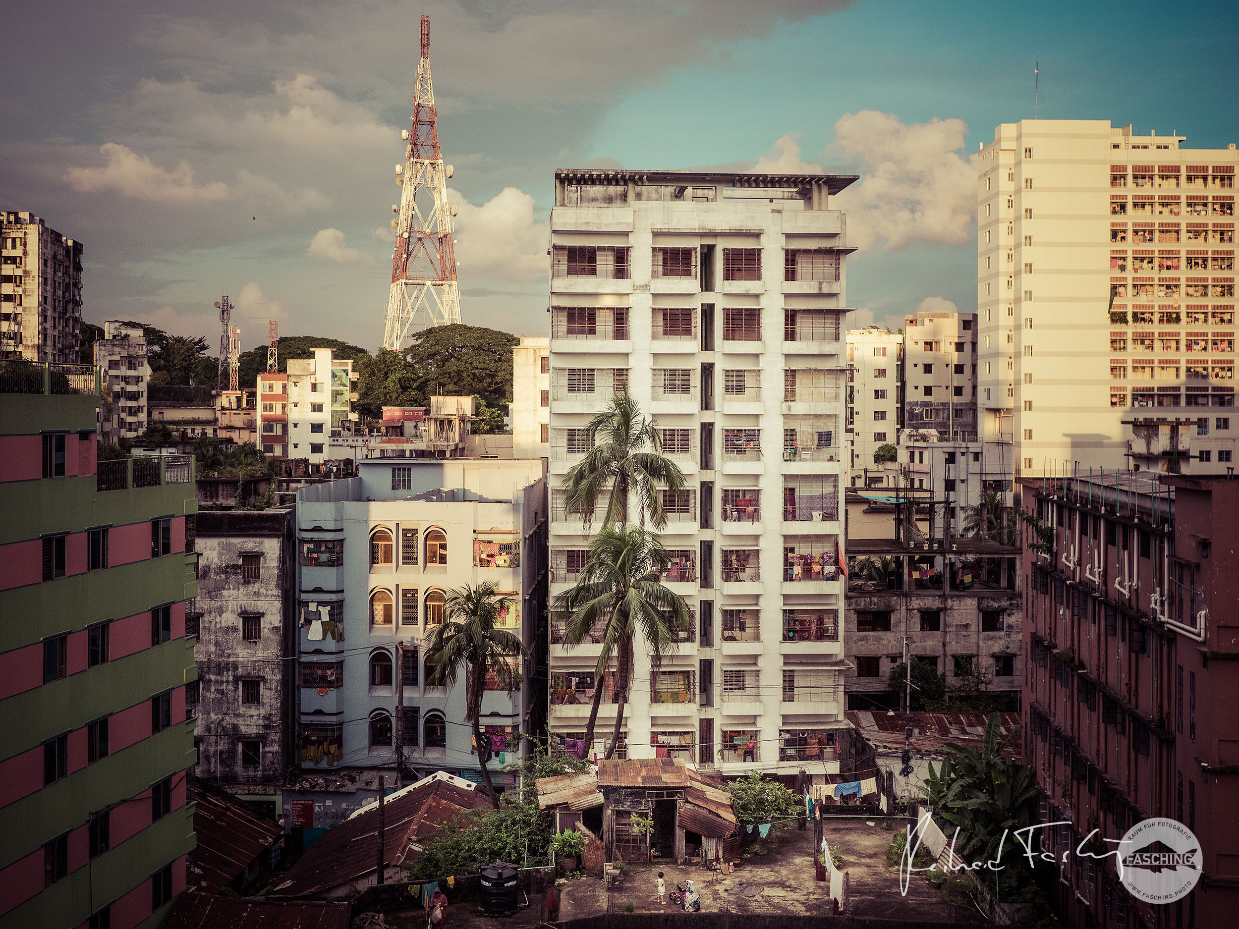 City view with a small roof terrace, photo in Chittagong city