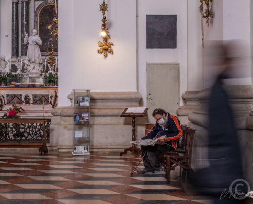 Homeless in a curch in Padua, Fotogafie Reinhard Fasching